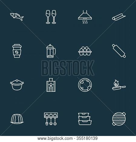 Gastronomy Icons Line Style Set With Juicer, Rolling Pin, Eggs And Other Dish Elements. Isolated Vec