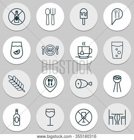 Cafe Icons Set With Lemon Juice, Table, Spoon With Fork And Other Alcohol Forbid Elements. Isolated