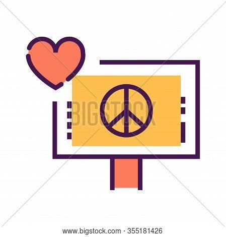 Pacifism Line Color Icon. Anti War Movement. Peaceful Protest. . Pictogram For Web Page, Mobile App,