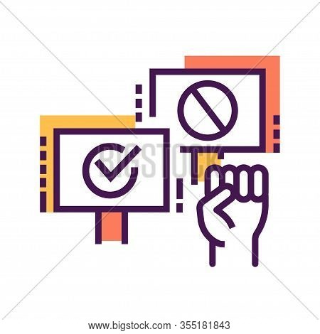 Boycott Line Color Icon. Disagreement Of People. Social Protest. Pictogram For Web Page, Mobile App,