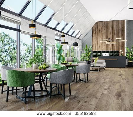 Modern Bright Lobby Interior With Panoramic Windows, Dinning Tables, Reception Desk, Wooden Floor, I