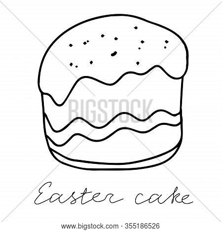 A Black Hand-drawn Vector Illustration Of An Easter Cake With Raisins And A Fudge With A Colorful Sw