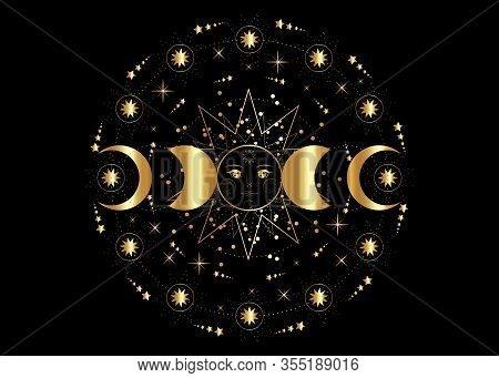 Triple Moon, Golden Pagan Wiccan Goddess Symbol, Sun System, Moon Phases, Orbits Of Planets, Energy