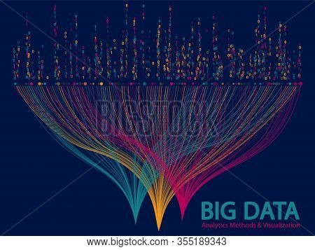 Big Data Analytics Methods And Visualization Concept Vector Design. 0 And 1 Binary Code Matrix Data