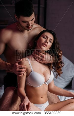 Sexy Man Making Neck Erotic Massage To Sexy Girl With Big Breast In Bra