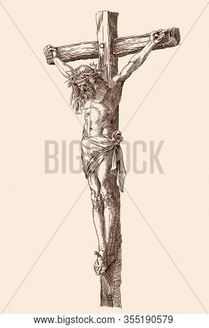 Jesus Christ Crucified On A Wooden Cross. Vector Illustration Of A Figure Isolated On A Beige Backgr
