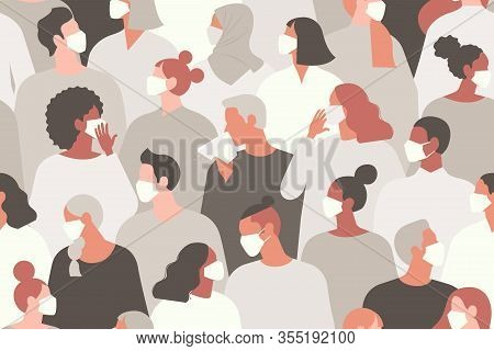 Coronavirus In China. Novel Coronavirus 2019 Ncov, People In White Medical Face Mask. Concept Of Cor