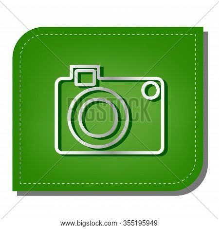 Digital Camera Sign. Silver Gradient Line Icon With Dark Green Shadow At Ecological Patched Green Le