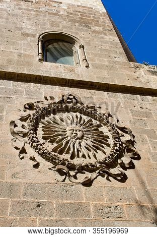 Almeria Cathedral, Spain. High On The Wall Is A Sun Emblem, Known By Locals As The Sol De Portocarre