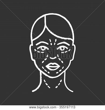 Mimic Wrinkles Chalk Icon. Facial Skin After Thirty. Face Ageing. Facial Markup For Cosmetic Procedu