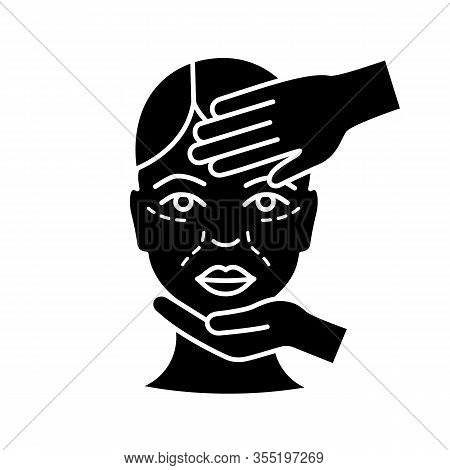 Cosmetologist Examination Glyph Icon. Cosmetology. Cosmetic Procedure. Neurotoxin Injection Preparat