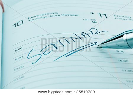 an appointment is entered on a calendar: seminar