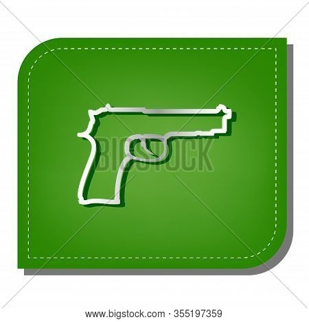 Gun Sign Illustration. Silver Gradient Line Icon With Dark Green Shadow At Ecological Patched Green
