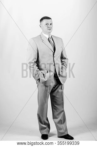 Businessman Concept. Formal Style Clothing. Corporate And Formal. Boss Head Of Department. Wedding F