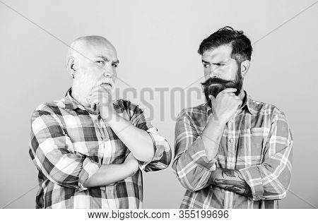 Father And Son. Hairdresser Salon. Barbershop Concept. Barber Well Groomed Handsome Mature Man. Brut