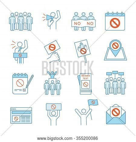 Protest Action Color Icons Set. Mass Demonstrations. Political Behaviour. Social And Political Movem