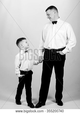Gentleman Upbringing. Visit Theatre Dress Code. Father And Son Formal Clothes Outfit. Formal Event.