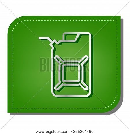 Jerrycan Oil Sign. Jerry Can Oil Sign. Silver Gradient Line Icon With Dark Green Shadow At Ecologica