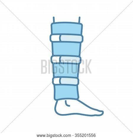 Shin Brace Color Icon. Shin Support. Adjustable Calf Brace. Lower Leg Compression Wrap. Leg Injury T