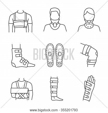 Trauma Treatment Linear Icons Set. Rib Belt, Cervical Collar, Ankle And Knee Braces, Insoles, Should
