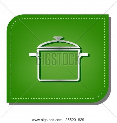 Cooking Pan Sign. Silver Gradient Line Icon With Dark Green Shadow At Ecological Patched Green Leaf.