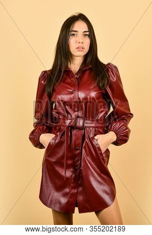 Fashionable Woman In Nice Leather Coat. Sexy Fashion Autumn Model. Looking At Camera. Outdoor Fashio