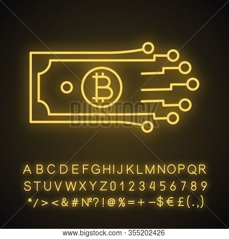 Digital Money Neon Light Icon. Bitcoin. Cryptocurrency. E-payment. Glowing Sign With Alphabet, Numbe