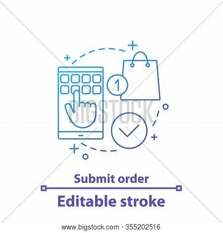 Submit Order Concept Icon. Select Items. Online Shopping Idea Thin Line Illustration. Digital Purcha