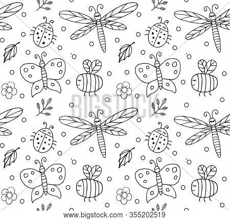 Vector Seamless Pattern Of Hand Drawn Doodle Sketch Different Insects Isolated On White Background