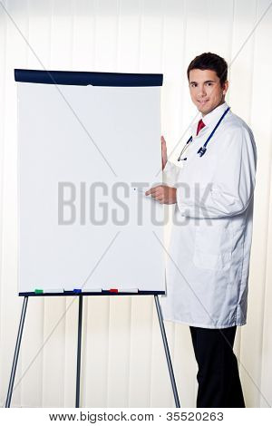 successful doctor with a flip chart during a presentation in meeting