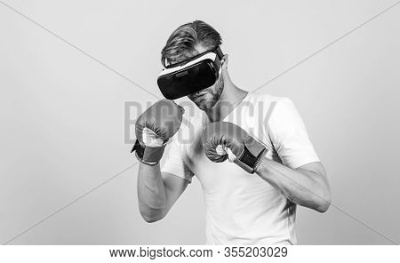 No Pain No Gain. Modern Gadget. Training Boxing Game. Boxing In Virtual Reality. Digital Sport Succe