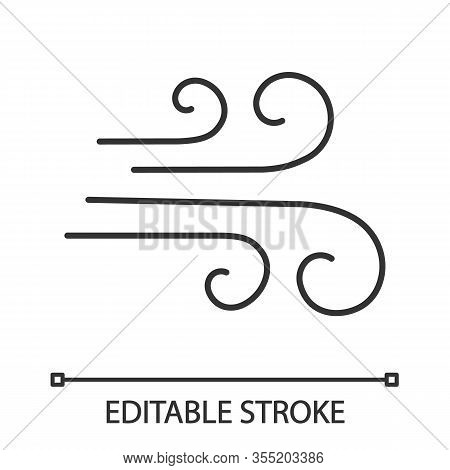 Airflow Linear Icon. Wind. Thin Line Illustration. Windy Weather. Air Ventilation. Contour Symbol. V