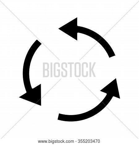 Air Conditioning Glyph Icon. Circular Arrow. Air Circulation. Ventilation Sign. Rotation. Silhouette