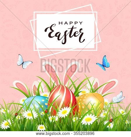 Pink Background With Floral Pattern And Lettering Happy Easter. Butterflies And Rabbit Ears Behind T