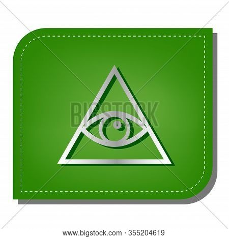 All Seeing Eye Pyramid Symbol. Freemason And Spiritual. Silver Gradient Line Icon With Dark Green Sh