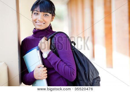 female indian college student on campus