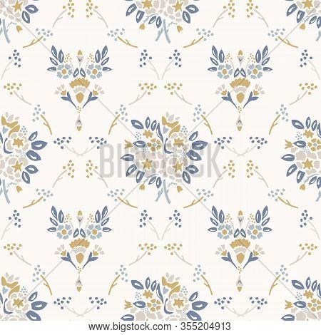French Shabby Chic Damask Vector Texture Background. Dainty Flower Bouquet Off White Seamless Patter