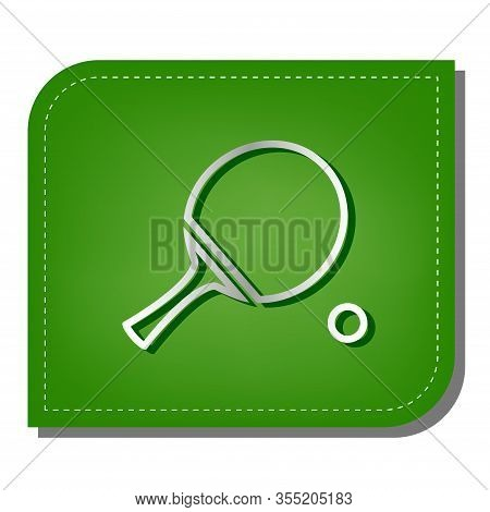 Ping Pong Paddle With Ball. Silver Gradient Line Icon With Dark Green Shadow At Ecological Patched G