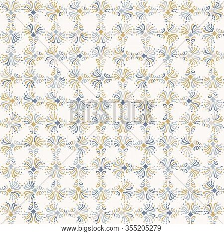 Rench Shabby Chic Azulejos Tile Vector Texture Background. Trellis Grid Yellow Blue On Off White Sea