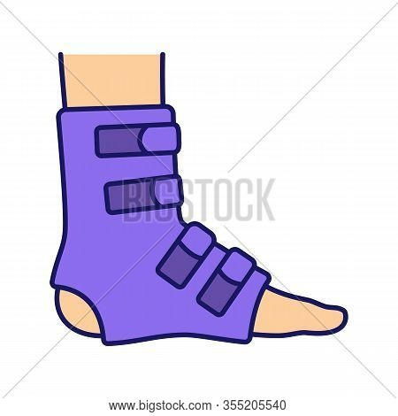 Foot Ankle Brace Color Icon. Foot Orthosis. Leg Brace. Adjustable Ankle Joint Bandage. Joint Pain Re
