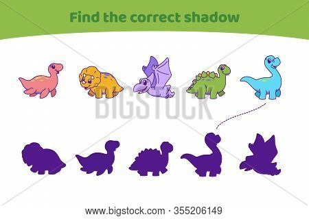 Cute Dinosaurs. Find The Correct Shadow. Find The Right Path To Silhouette. Educational Game For Chi