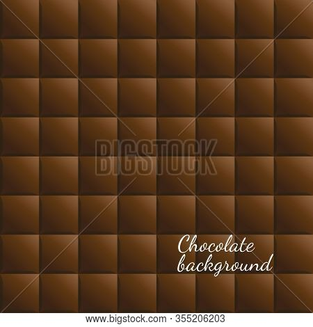 Vector Chocolate Squares Background. Realistic Food Seamless Pattern Wallpaper. Dark Chocolate Repea
