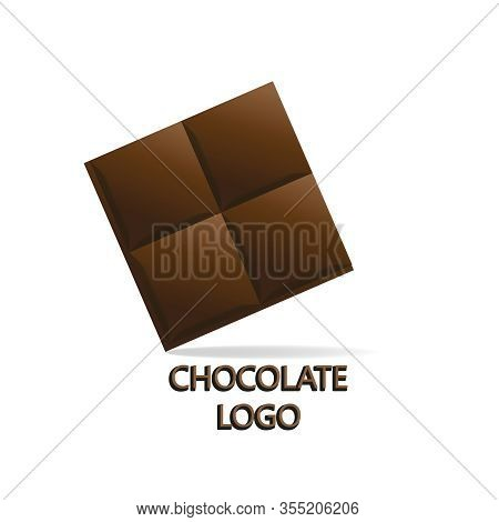 Big Chunk Logo. Seamless Vector Chocolate Chunk Concept. Square Sweets Emblems Or Stickers Isolated