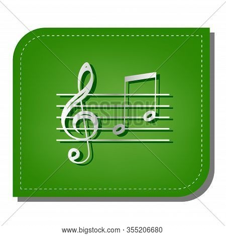 Music Violin Clef Sign. G-clef And Notes G, H. Silver Gradient Line Icon With Dark Green Shadow At E