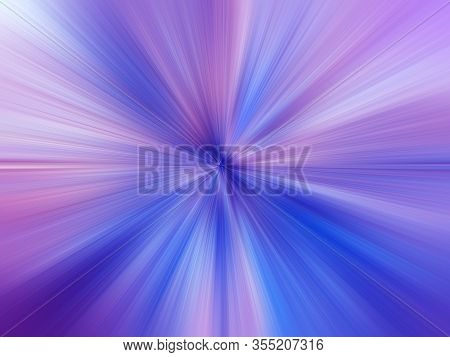 Abstract Blue, Lilac Zoom Effect Background. Digitally Generated Image. Rays Of Lilac Light. Colorfu