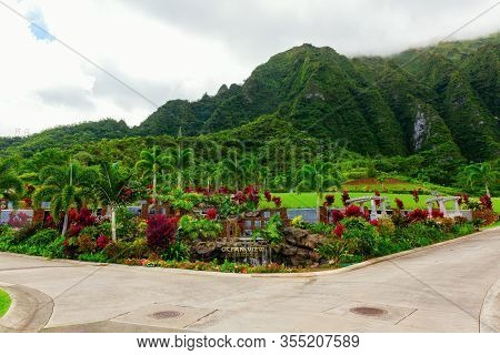 Ocean View Terrace In The Valley Of The Temples Memorial Park, . Thousands Of Buddhist, Shinto, Prot