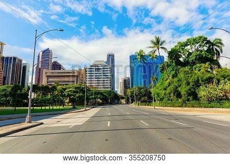 Street View In Downtown Honolulu, Oahu, Hawaii