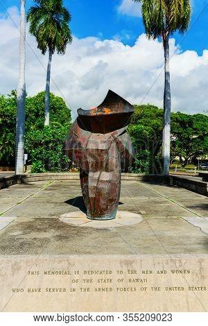 Eternal Flame Memorial In Honolulu, Hawaii