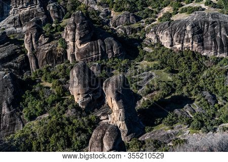 Kalambaka, Greece,  Aerial View Of Monastery Varlaam And Breathtaking Pictures Of Valley And Landmar