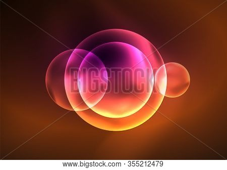 Glowing neon shiny bubbles, glass circles or bio cell concept. Techno futuristic abstract background For Wallpaper, Banner, Background, Card, Book Illustration, landing page